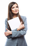 Smile Business woman portrait with blank white boa Stock Image