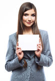 Smile Business woman portrait with blank white board on white is Royalty Free Stock Photography