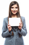 Smile Business woman portrait with blank white boa Royalty Free Stock Images