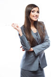 Smile Business woman portrait with blank white boa Royalty Free Stock Photos