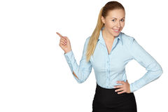 Smile Business woman show fingers . Isolated Stock Photo