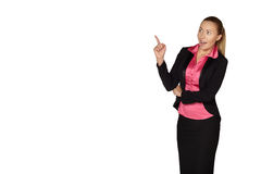 Smile Business woman show fingers . Isolated Stock Images