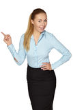Smile Business woman show fingers . Isolated Stock Photography