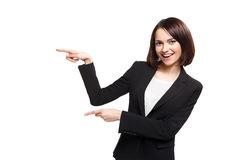 Smile Business woman show fingers isolated Royalty Free Stock Photos