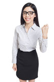 Smile business woman show fingers . long hair model isolated . Stock Photos