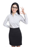 Smile business woman show fingers . long hair model isolated . Royalty Free Stock Images