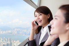 Smile Business woman speaking phone Royalty Free Stock Photography