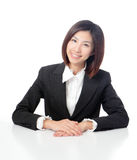 Smile business woman with white background Royalty Free Stock Photo