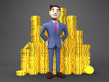 Smile Businessman With Coins On Black Background Royalty Free Stock Image