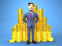 Smile Businessman With Coins On Blue Background Royalty Free Stock Photography