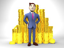 Smile Businessman With Coins On White Stock Photography