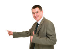 Smile businessman pointed. Finger left side isolated on white Stock Images