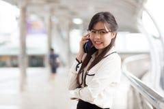 Smile businesswoman talking phone. Stock Photos