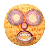Smile cake face with red onion Royalty Free Stock Images