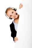 Smile call center woman holding empty banner Stock Photography