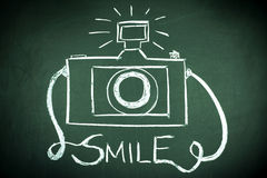 Smile. And camera on chalkboard Stock Images