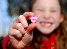 Smile Candy and Girl Royalty Free Stock Images