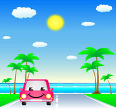 Smile car on resort road. Smile cartoon car on tropical resort road Stock Images
