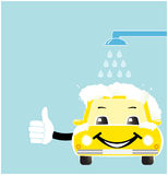 Smile cartoon car in car wash. With soap spume Stock Image