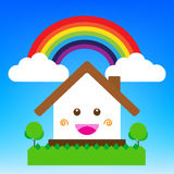 Smile cartoon house vector illustration, cute happiness building royalty free illustration