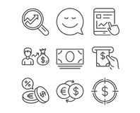 Smile, Cash money and Analytics icons. Sallary, Internet report and Currency exchange signs. Set of Smile, Cash money and Analytics icons. Sallary, Internet Royalty Free Stock Images