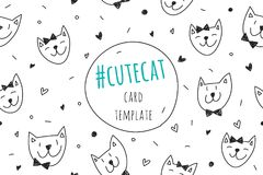 Smile cats faces card Royalty Free Stock Images