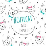 Smile cats faces card Royalty Free Stock Photography