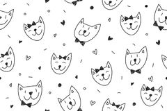 Smile cats faces pattern Royalty Free Stock Images