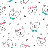 Smile cats faces pattern Royalty Free Stock Photography