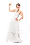 Smile with champagne. Happy bride with champagne and smile royalty free stock images
