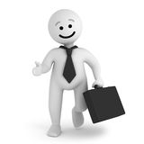 Smile character businessman with briefcase. A funny white smile character businessman walk with a briefcase Royalty Free Stock Photos
