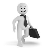 Smile character businessman with briefcase. A funny white smile character businessman walk with a briefcase Stock Photography