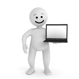 Smile character with laptop Royalty Free Stock Photography