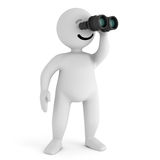 Smile character stay with binoculars Stock Photo