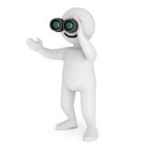 Smile character stay with binoculars Royalty Free Stock Photography
