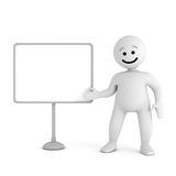 Smile character stay with blank board Stock Image