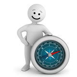 Smile character stay with compass. Funny white smile character stay with silver compass Royalty Free Stock Photos