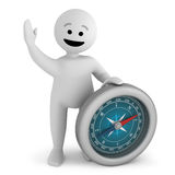 Smile character stay with compass. Funny white smile character stay with silver compass Royalty Free Stock Photo