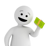 Smile character stay with money Royalty Free Stock Photo