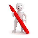 Smile character stay with pen. Funny white smile character stay with red pen Royalty Free Stock Photography