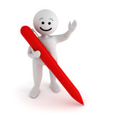 Smile character stay with pen. Funny white smile character stay with red pen Stock Image