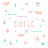 Smile. Childish abstract card template. Royalty Free Stock Photo