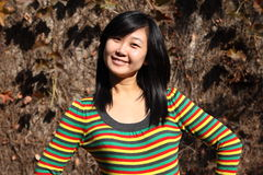 Smile of Chinese young woman of shopping Royalty Free Stock Photo