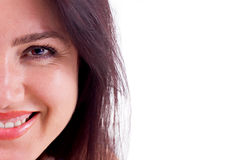 Smile Close-up. Close-up of a beautiful brunette woman with brown hair smiling Stock Images