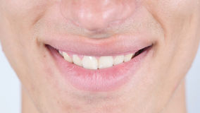 Smile, Close Up Of Man's Face Lips. High quality Stock Photo