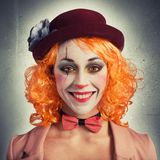 Smile clown. Beautiful vintage woman clown smiling and extravagant Royalty Free Stock Images