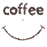 Smile coffee beans. Smile of roasted coffee beans Royalty Free Stock Image