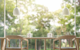 Smile Coffee cup in the morning with blur background 3d rendering image. The coffee table is located by the large window Overlooking to the nature. There is a Royalty Free Stock Photography