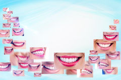 Smile collage. Smiling collage - healthy teeth and smile Royalty Free Stock Image