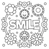 Smile. Coloring page. Vector illustration. Smile. Coloring page. Black and white vector illustration Stock Photo